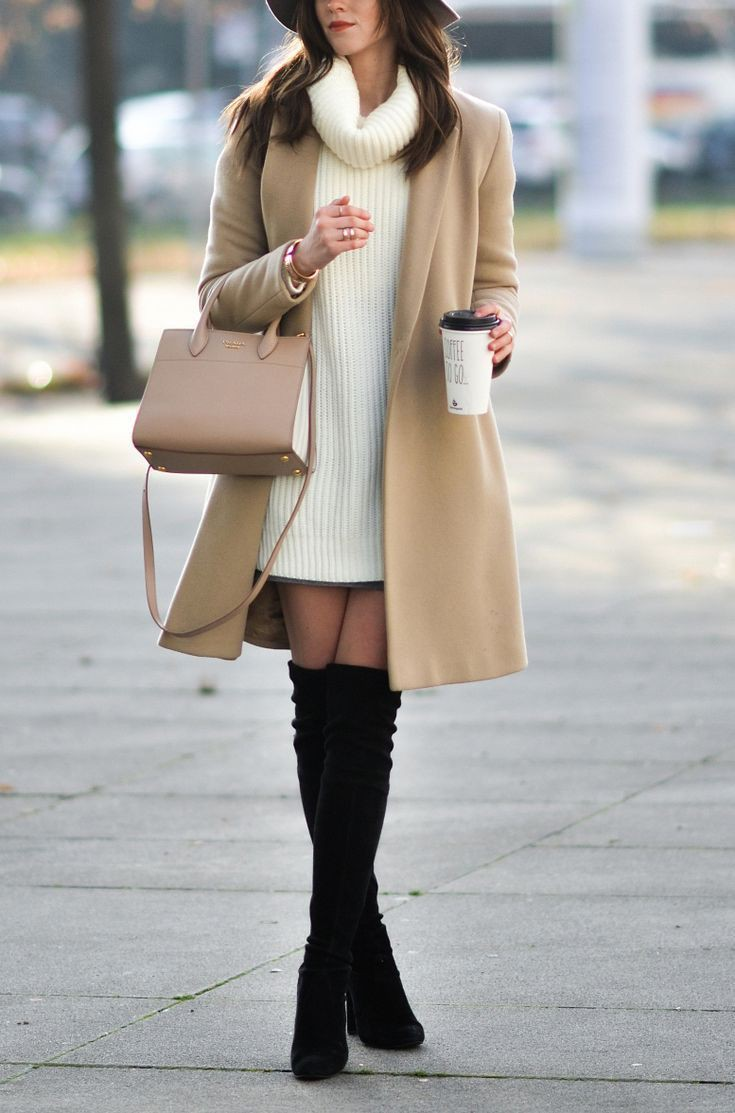 White colour combination with fashion accessory, skirt, coat