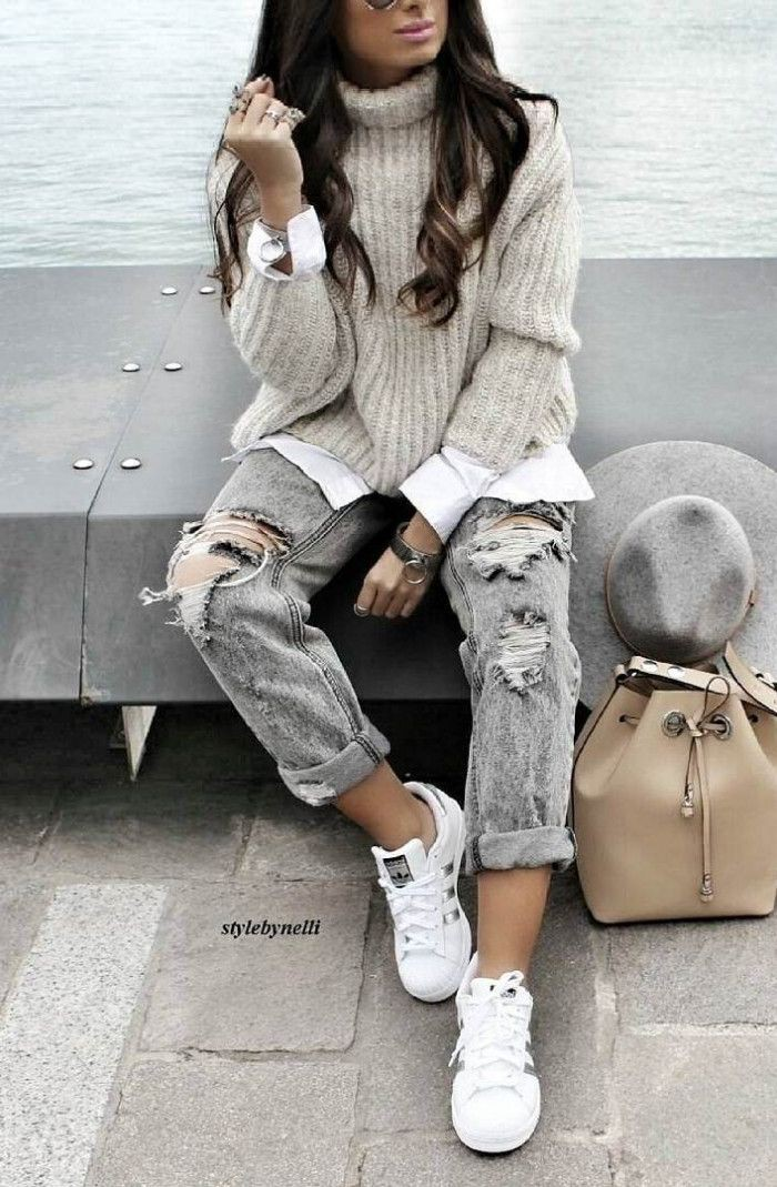 White designer outfit with trousers, shorts, jeans