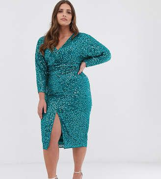 Asos curve red sequin dress