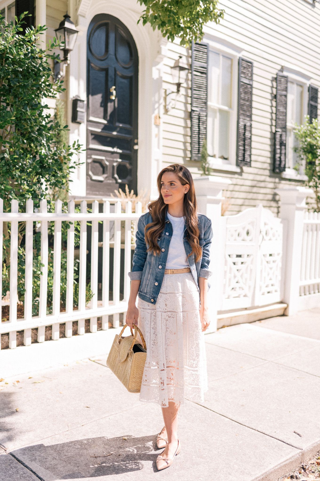 White outfit instagram with denim skirt, jean jacket, jacket