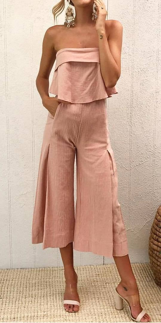 Beige and pink colour outfit, you must try with romper suit, trousers shoe