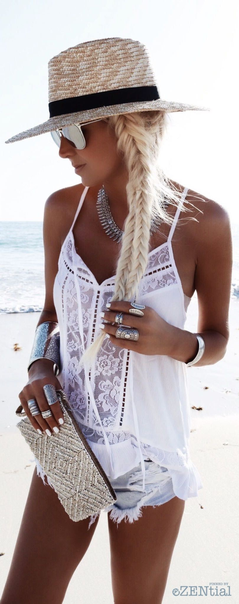White trendy clothing ideas with sleeveless shirt, swimwear