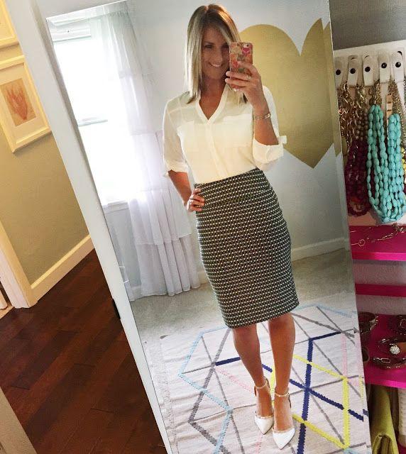 White colour ideas with pencil skirt, miniskirt, polka dot