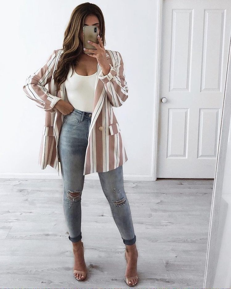 Brown and white colour combination with crop top, trousers, blazer