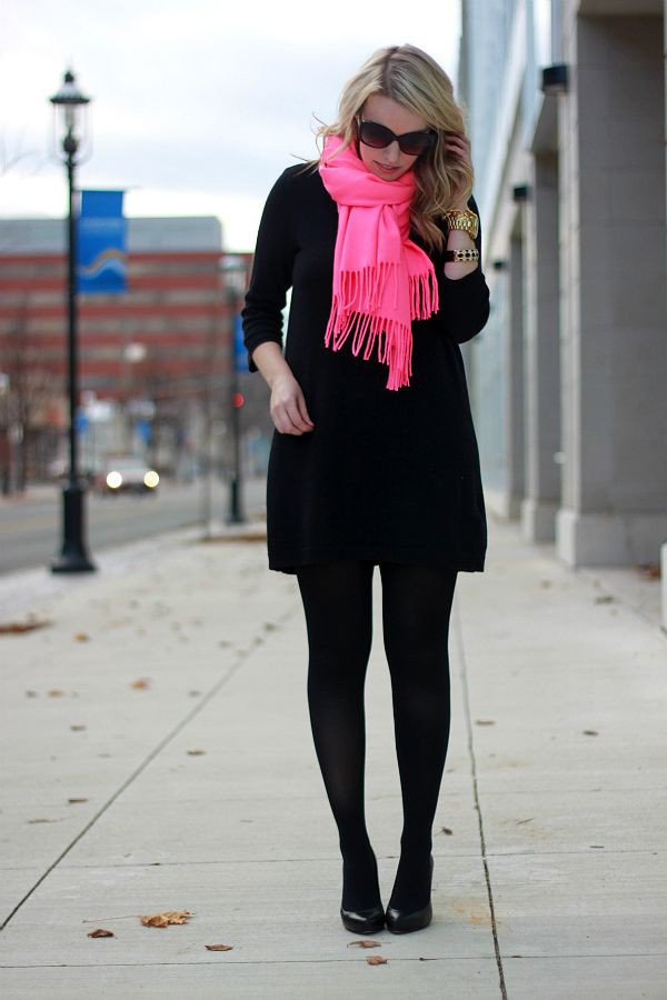 Hot pink scarf outfit
