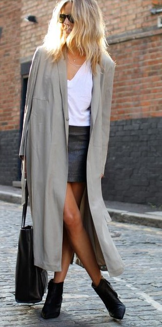Colour outfit, you must try maxi cardigan look, street fashion, leather skirt