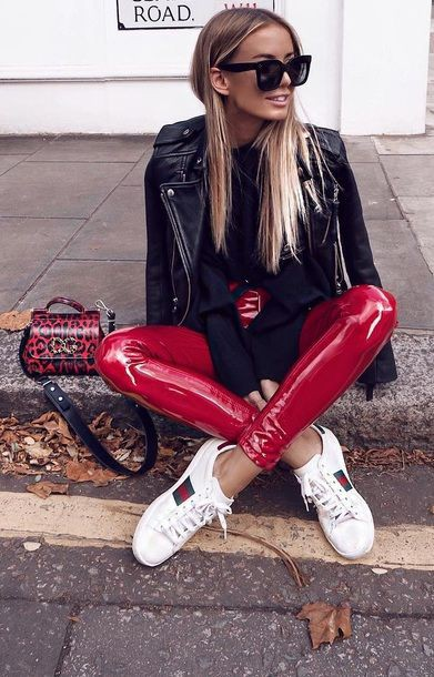 Colour outfit, you must try red vinyl pants slim fit pants, street fashion