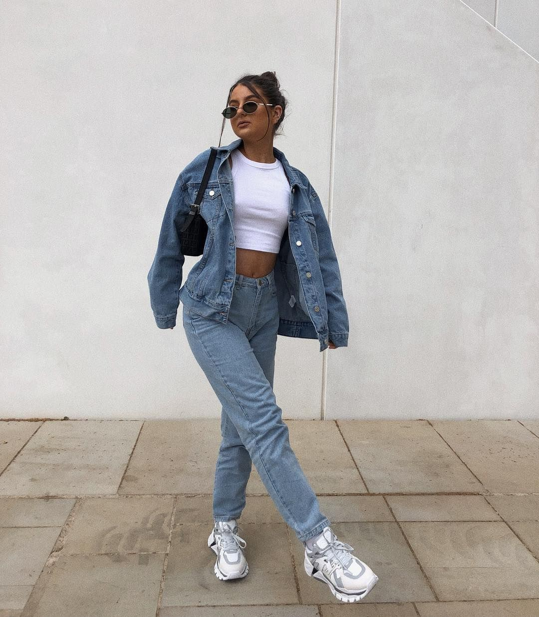 white matching outfit with jacket, denim, jeans