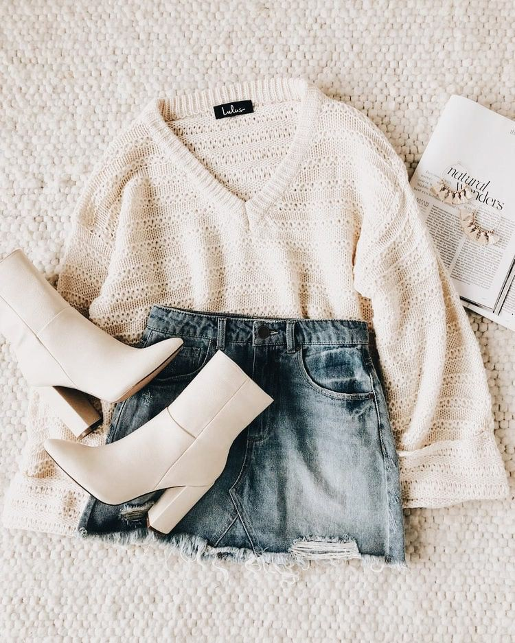 Beige and white colour dress with fur clothing, sweater, jacket