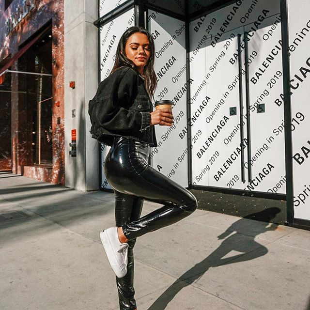 Leather pants with sneakers, leather jacket, street fashion, casual wear, t shirt