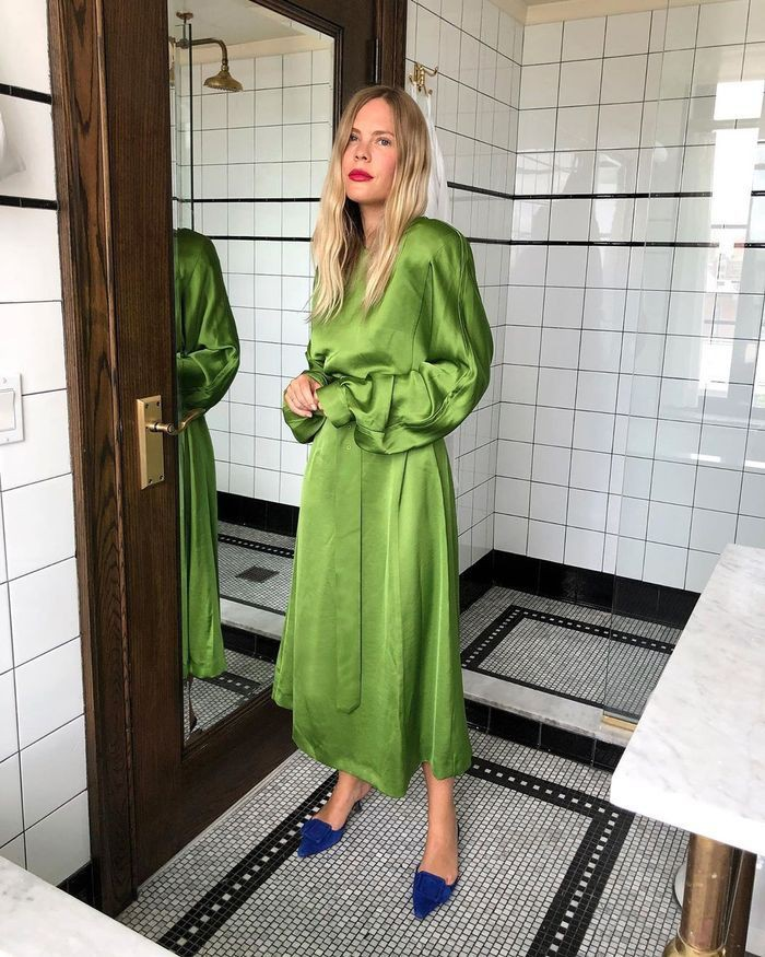 Green style outfit with dress, gown, winter clothing