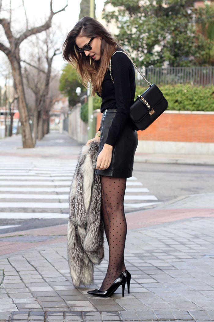 Stockings mini skirt style, street fashion