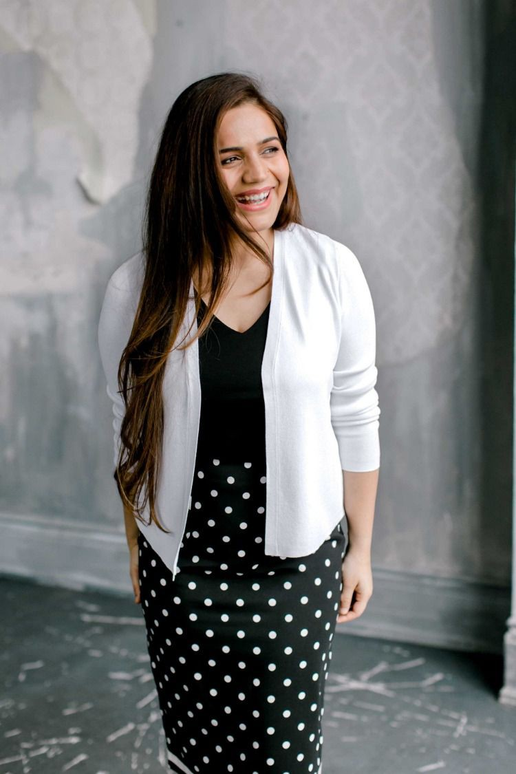 White instagram dress with formal wear, polka dot, blazer