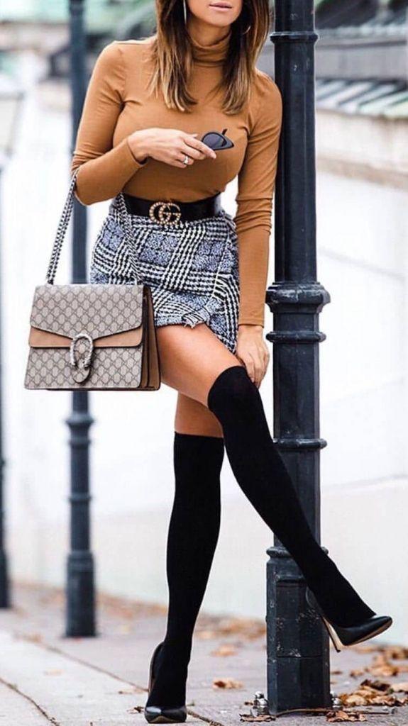 Outfit Pinterest skirt knee highs high heeled shoe, thigh high boots, knee high boot