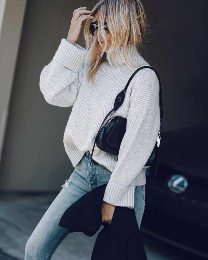 Colour outfit ideas 2020 with sweater, blazer, jeans