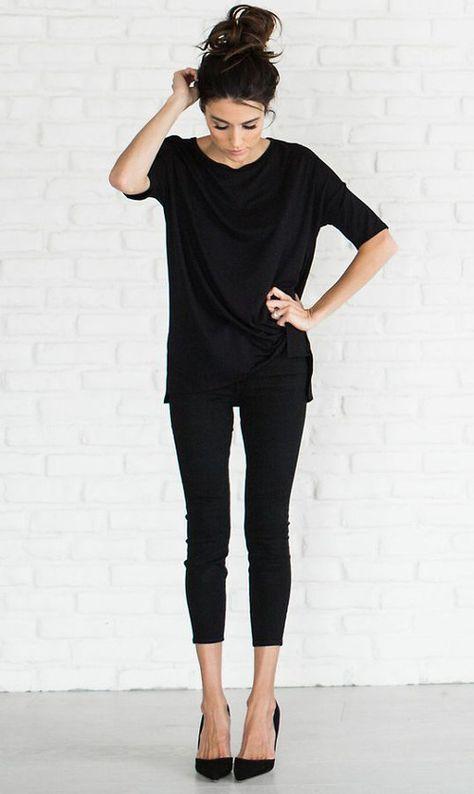 Black jeans and black t shirt women