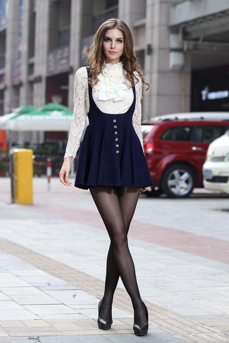 Outfit ideas women suspenders dress, street fashion, fashion model