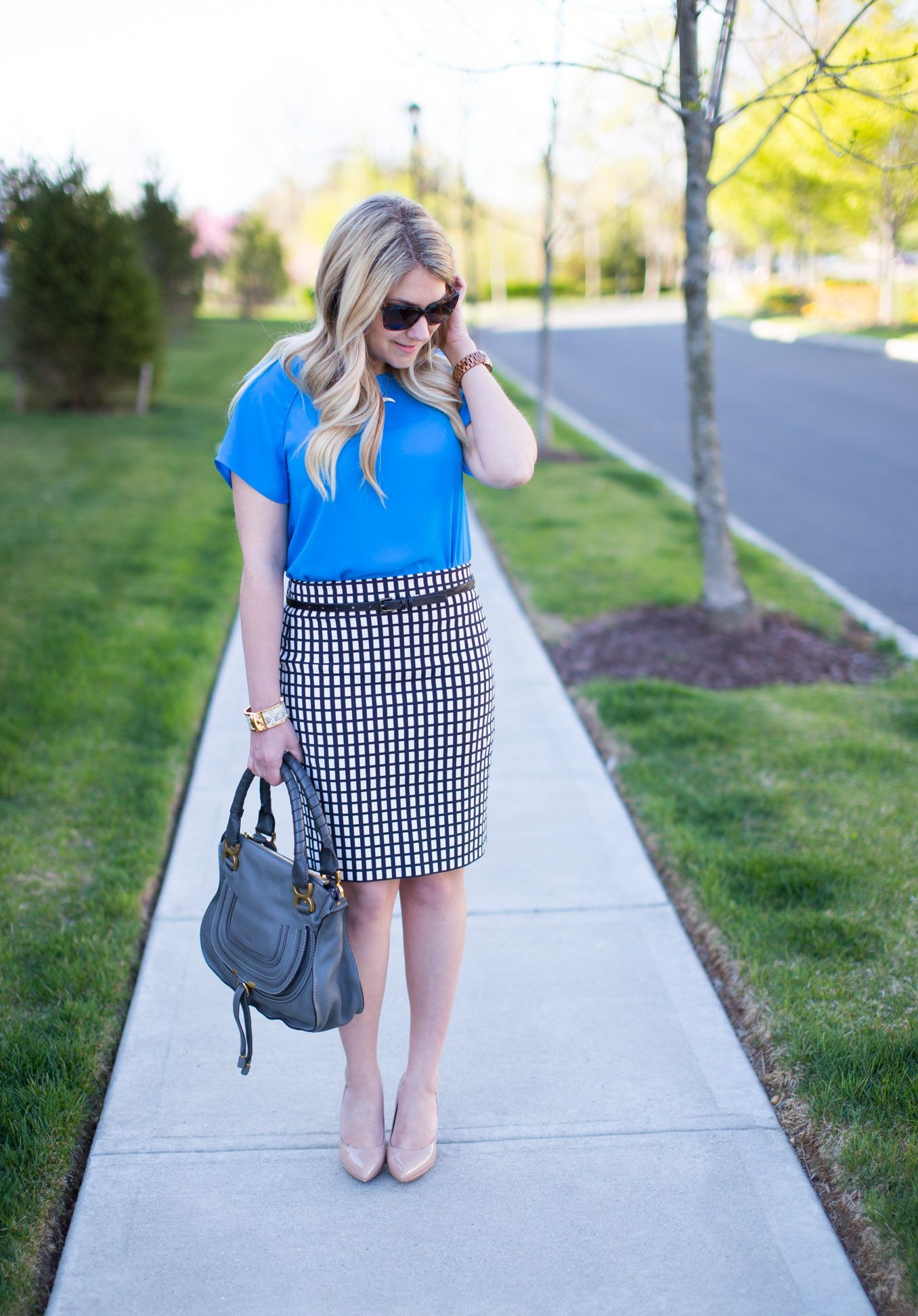 Electric blue and cobalt blue instagram fashion with pencil skirt, polka dot, shorts