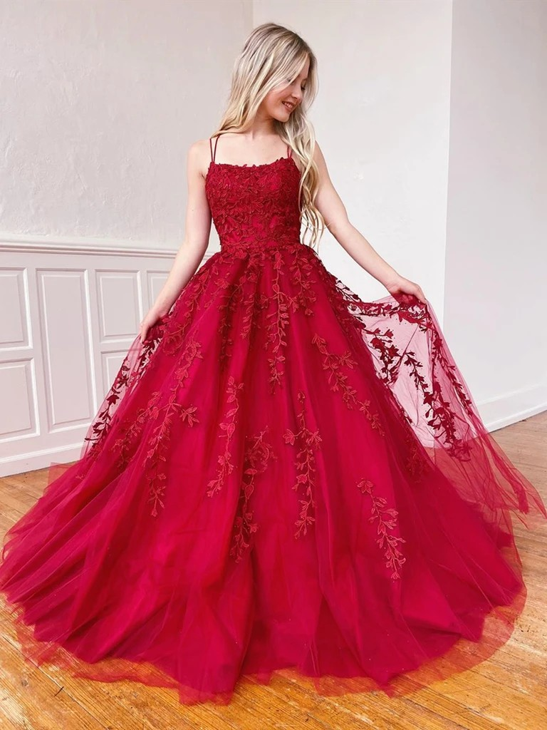 Open back red lace prom dress