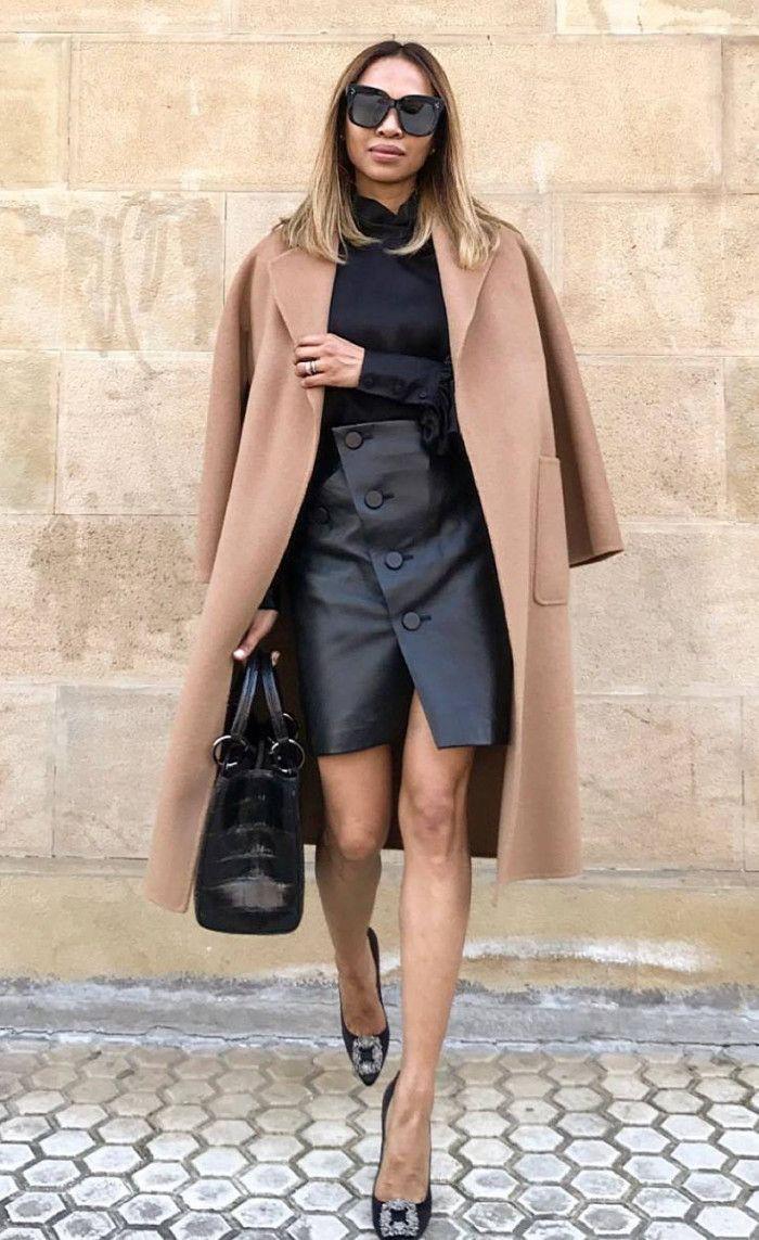 Black style outfit with little black dress, dress sunglasses, eyewear