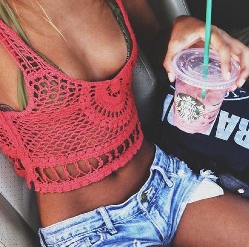 Tank top bikini jean shorts