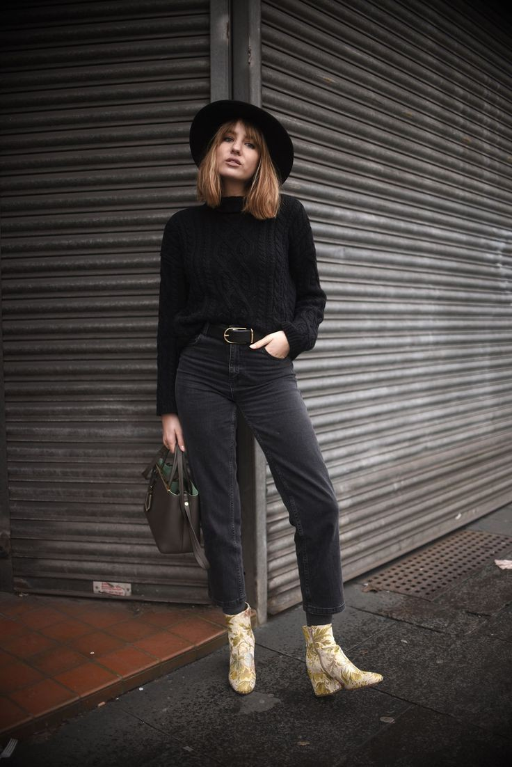 Black instagram fashion with trousers, denim, jeans