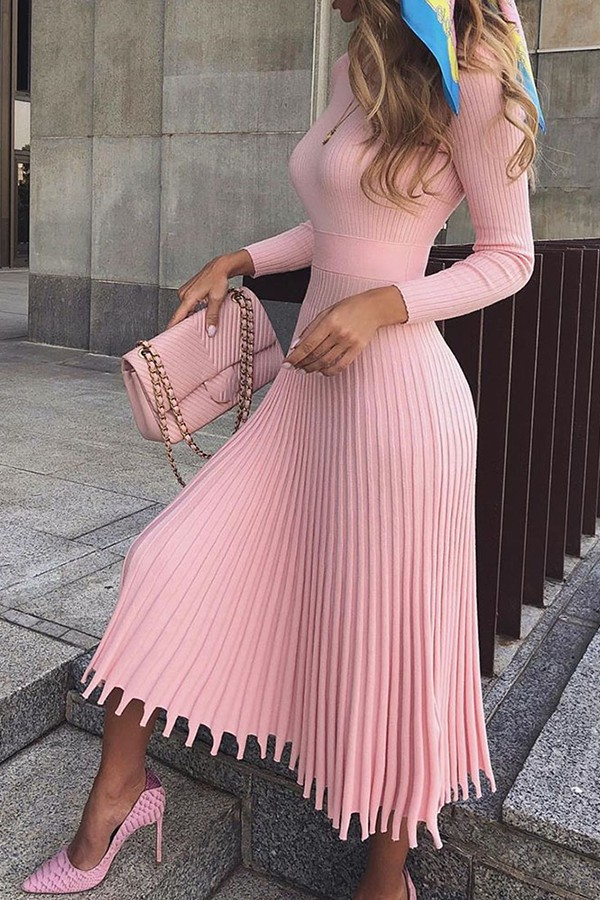 Pink colour outfit with fashion accessory, casual wear