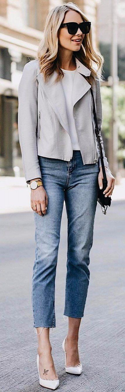 White colour outfit, you must try with jacket, blazer, denim