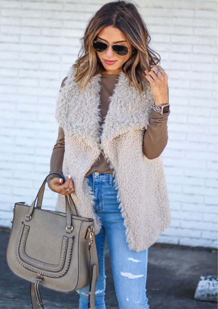 Beige and brown classy outfit with fur clothing, sweater, denim