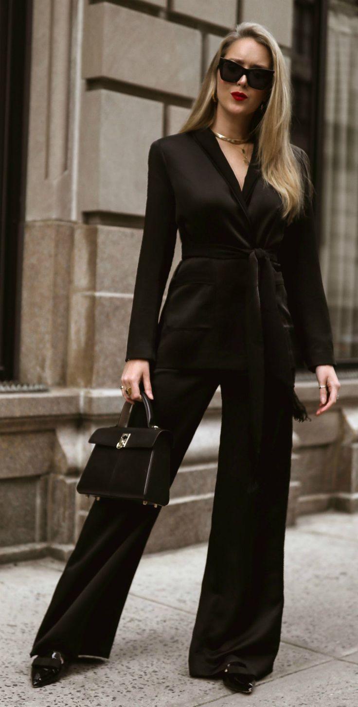 Black lookbook fashion with formal wear, trousers, blazer