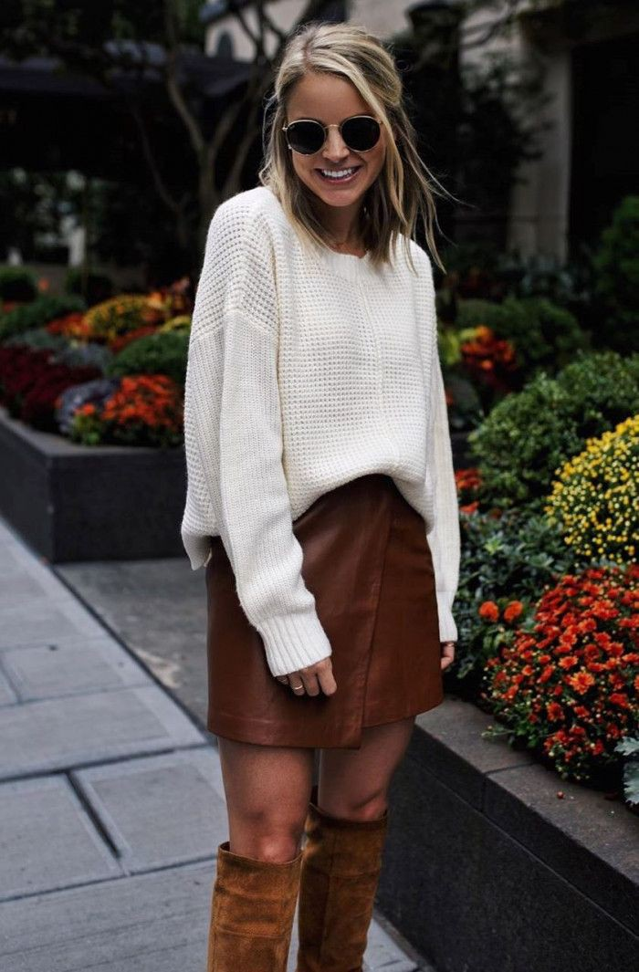 Orange and brown clothing ideas with miniskirt, sweater, shorts