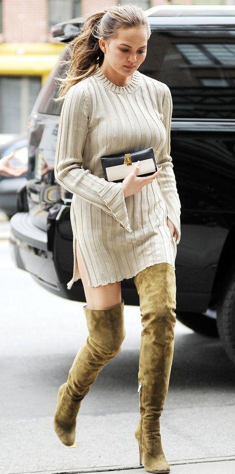 Chrissy teigen street style scapa woollen dress, knee high boot