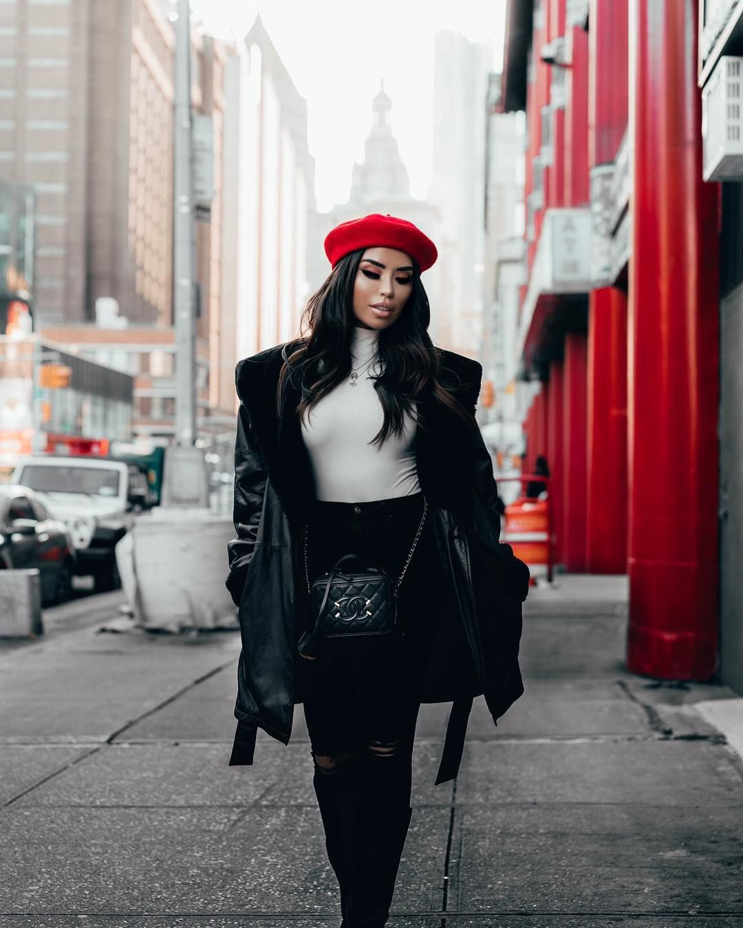 Black and red dresses ideas with sweater, jacket, beanie