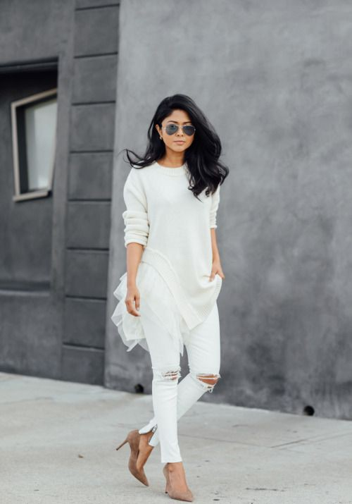 White dresses ideas with leggings, jacket, jeans