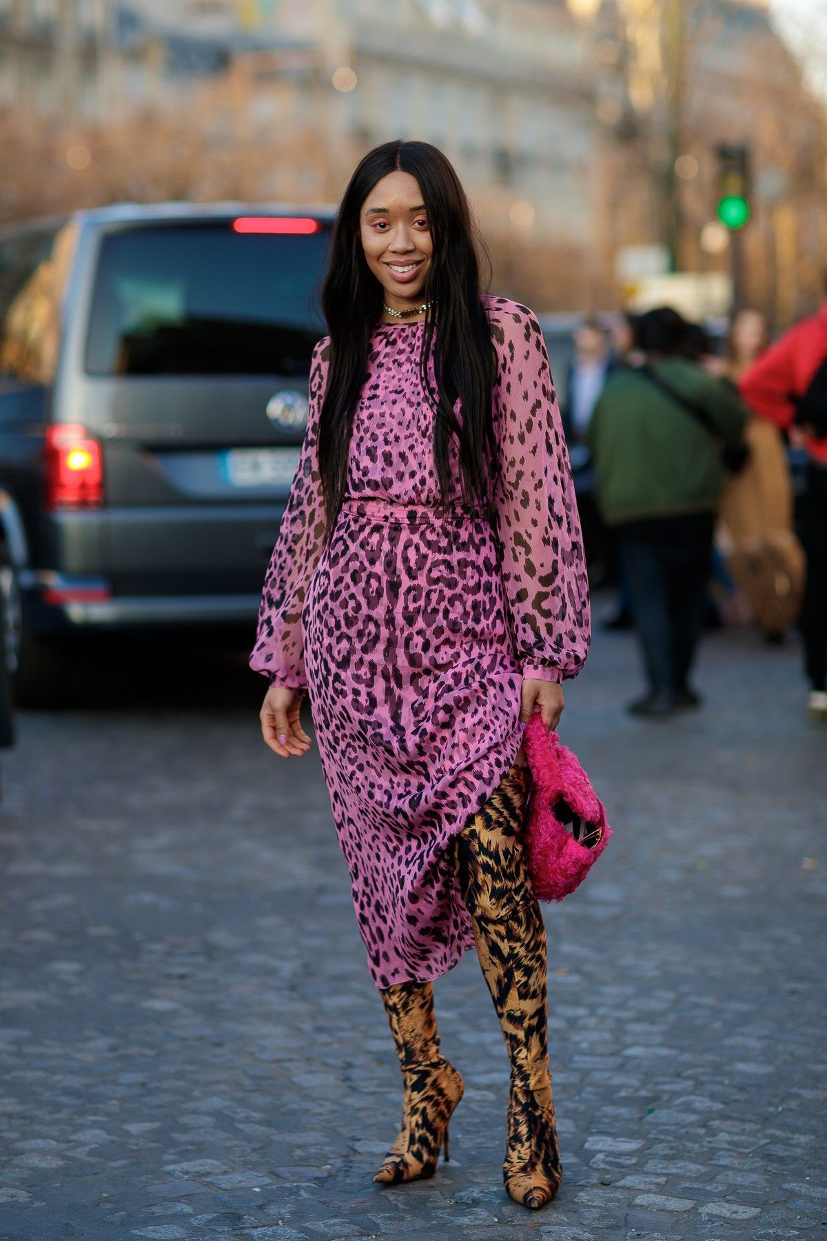 Pink outfit ideas with fur tights, fur, new york fashion week