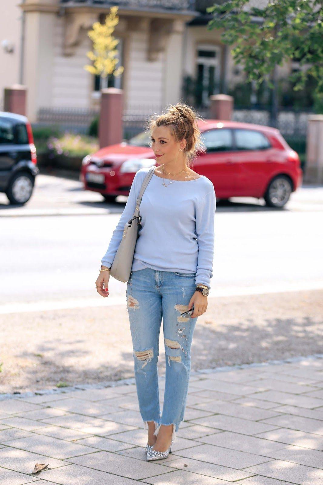 Blue colour combination with shorts, denim, jeans
