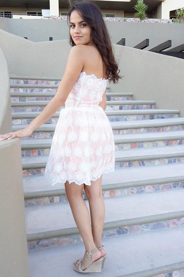 white outfits for girls with strapless dress, cocktail dress