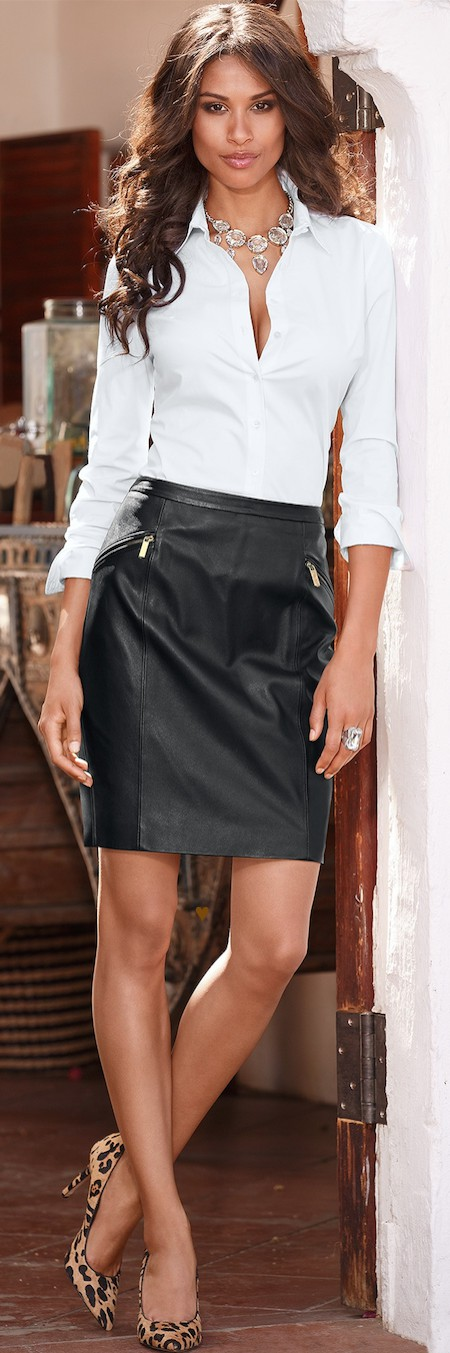 Sexy skirt and shirt little black dress, leather skirt