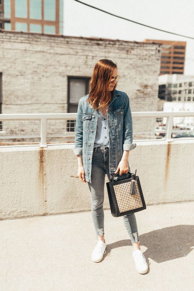 White clothing ideas with jean jacket, jacket, blazer