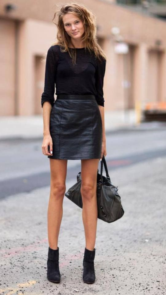 Trendy clothing ideas style leather skirt little black dress, street fashion