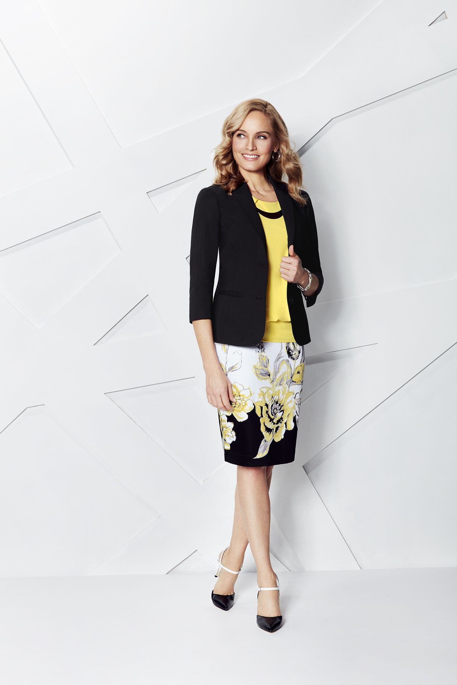 Yellow and black lookbook dress with pencil skirt, formal wear, shorts