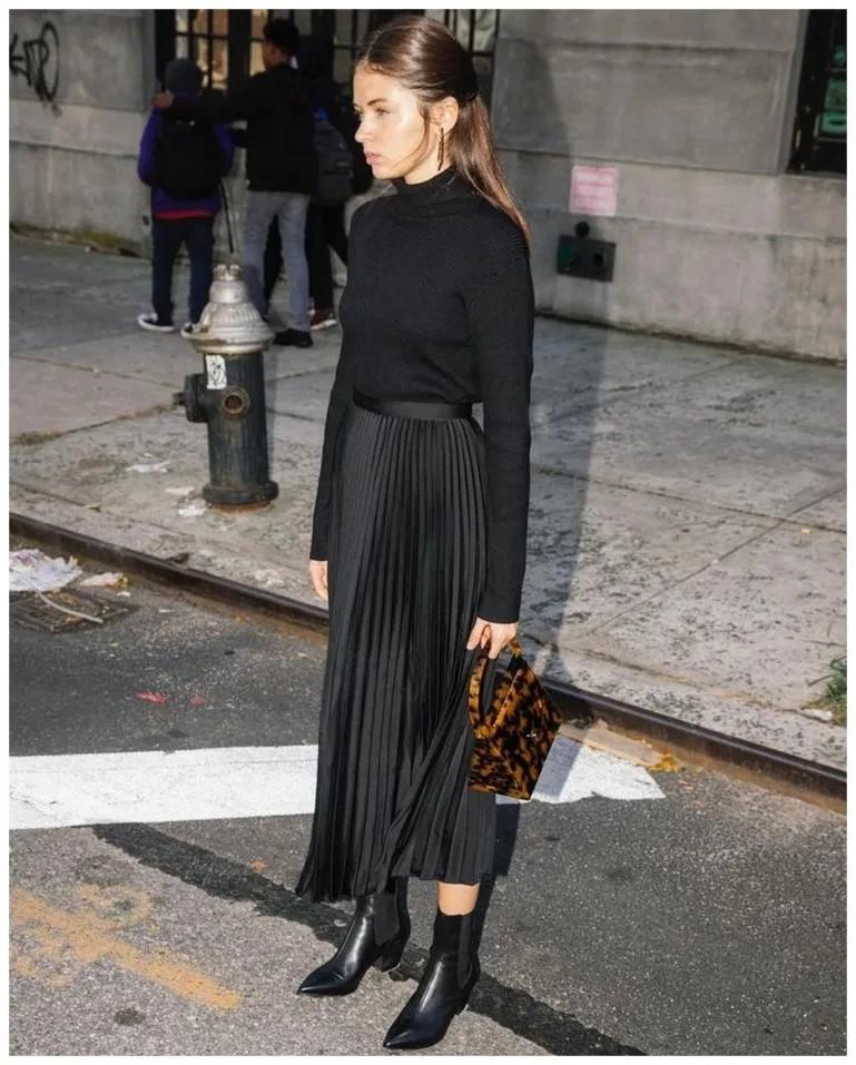 Black midi skirt outfit black pleated skirt, street fashion