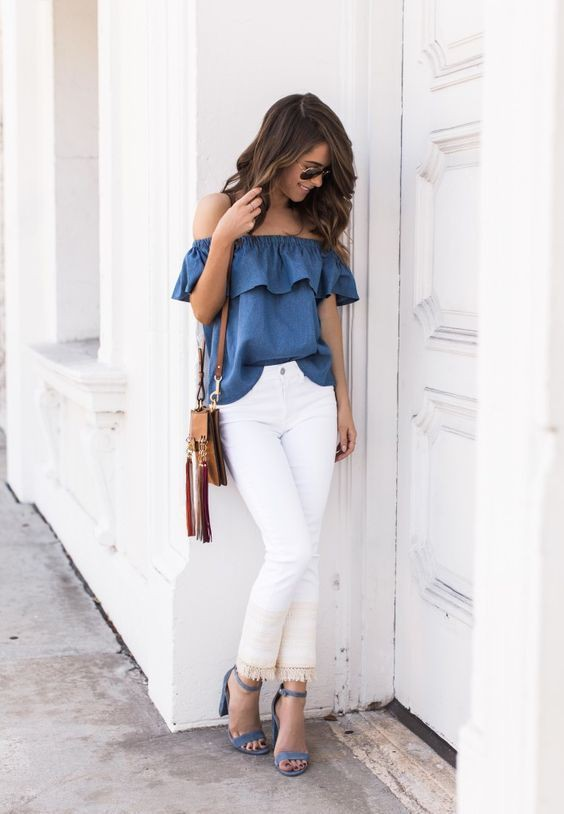 Off the shoulder top with white jeans