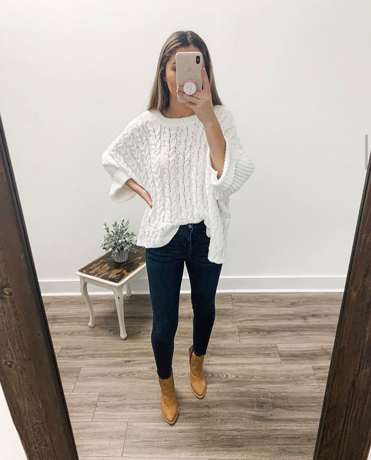 Yellow and white outfit with leggings, sweater, jeans