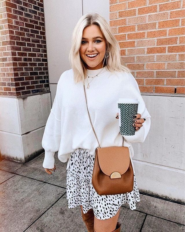White colour combination with sweater, blazer, shorts
