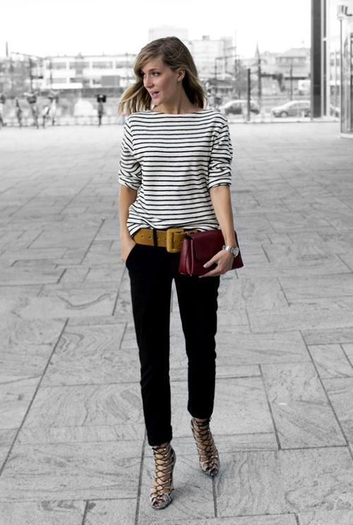 Stripe t shirt outfit for women