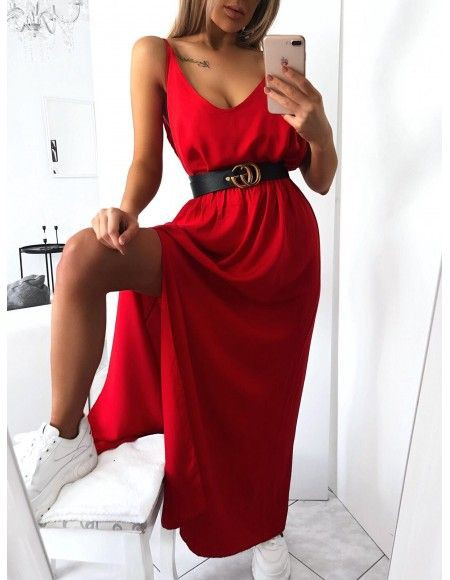 Red colour outfit with cocktail dress, evening gown, dress