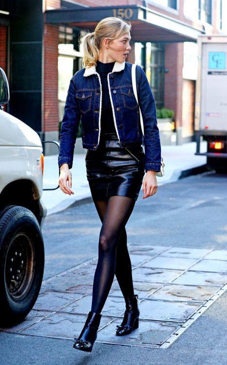 Fashionnova clothing ideas karlie kloss skirt, street fashion, leather skirt, electric blue, kar ...