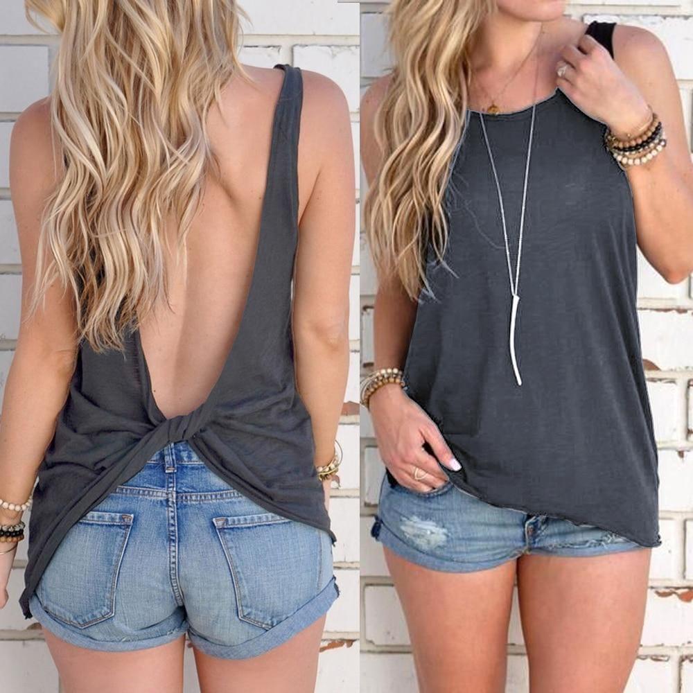 Sleeveless open back tops, sleeveless shirt, backless dress, dress shirt, jean short, crop top,  ...