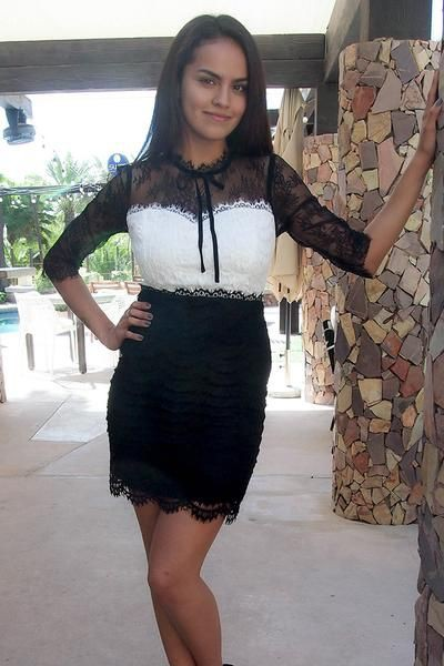 black matching style with cocktail dress, female thighs